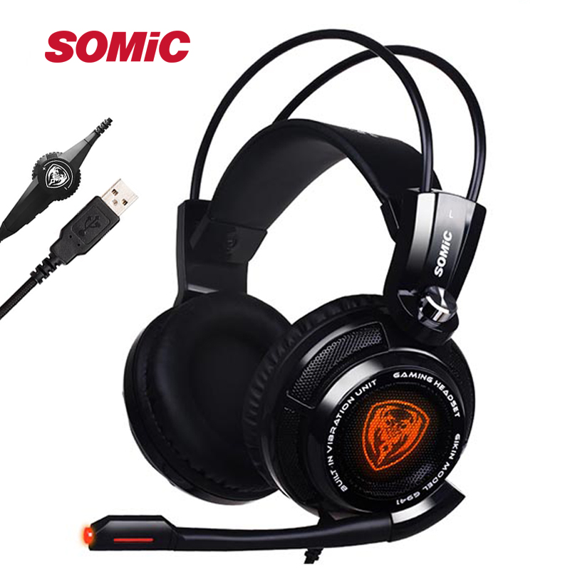 Original Somic G941 7,1 Virtuelle Surround Sound USB Gaming Headset Vibrierende Glow Led Stirnband Kopfhörer mit Mic Voice Control image