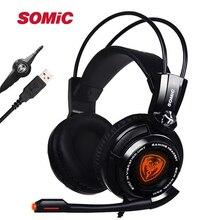 Original Somic G941 7,1 Virtuelle Surround Sound USB Gaming Headset Vibrierende Glow Led Stirnband Kopfhörer mit Mic Voice Control