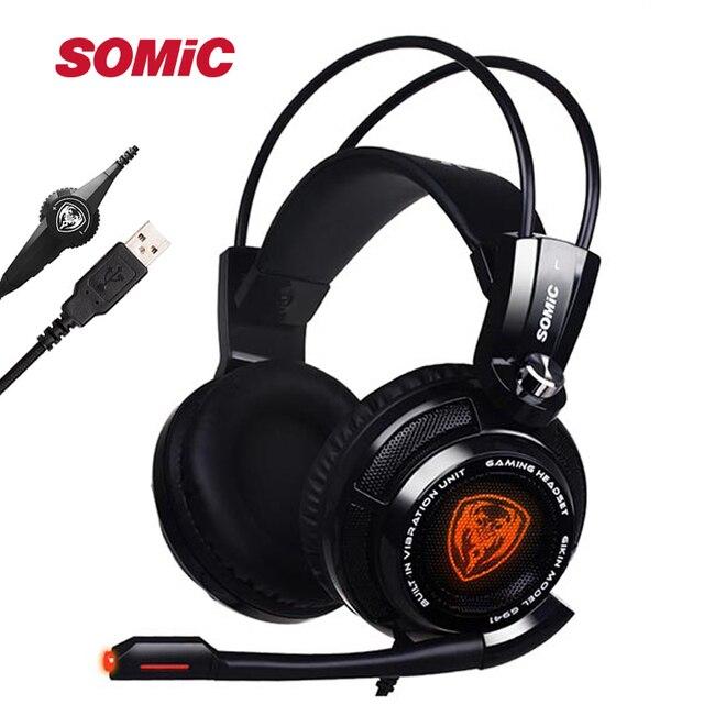 מקורי Somic G941 7.1 וירטואלי סראונד USB משחקי אוזניות רטט זוהר Led בגימור אוזניות עם מיקרופון קול שליטה