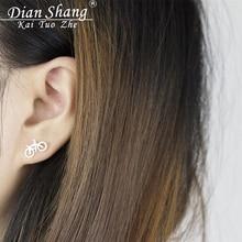 Earings Fashion Biker Jewelry Cute Korean Brincos 2017 Tiny Bike Bicycle Stud Earrings For Women Men's Best Friend Gifts Aros