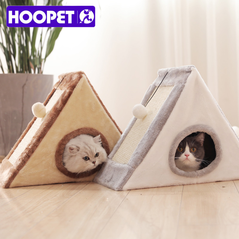 Collapsible Pet Cat House Warm Soft Pet Bed Cute Sandwich Shape Cat Cave Bed Furniture with Scratch Board For Cats House