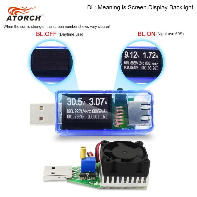 ATORCH USB tester + DC zátěž Digitální voltmetr 15W power bank - Měřicí přístroje - Fotografie 3