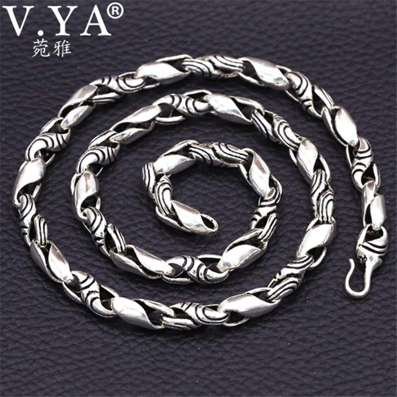 V.YA 8mm Cool Punk Style Men Chain 925 Sterling Silver Necklaces Chains Personality Thai Silver Men's Jewelry Bijoux punk style butterfly chains choker