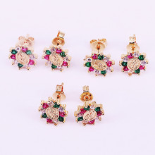 10Pairs New Trendy colorful rainbow cz stud earring for women Gold filled fashion earrings