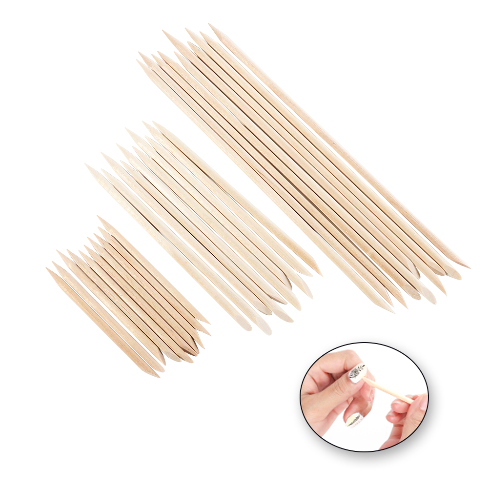 3 Sizes Double Sided Orange Nail Art Wood Sticks For Cuticle Pusher Remover Set Nail Manicure Pedicure Tool TR709