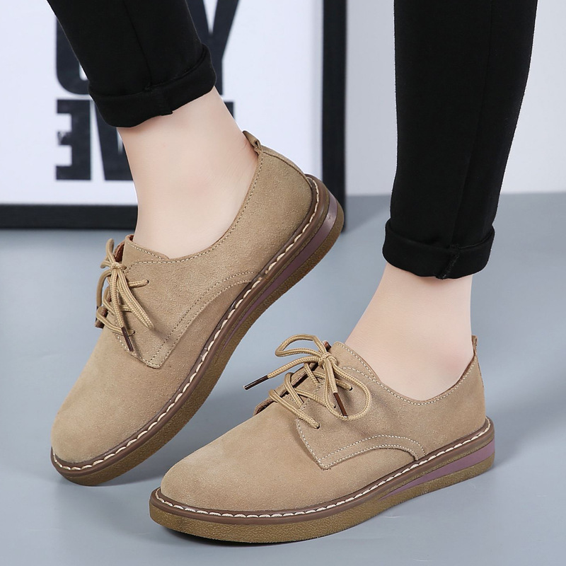 2018 Autumn women sneakers oxford shoes flats shoes women   leather     suede   lace up boat shoes round toe flats moccasins 1989W