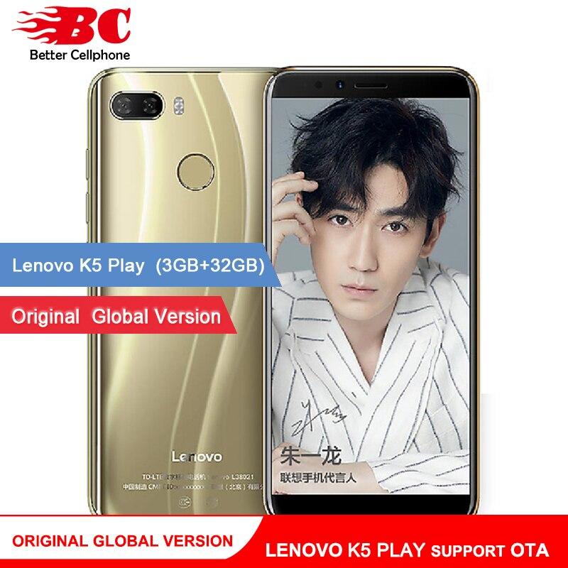 Первоначально Глобальный lenovo K5 играть телефон Android 8,0 Snapdragon 430 MSM8937 Восьмиядерный 5,7 дюймов отпечатков пальцев Rear13.0MP 3 ГБ + 32 ГБ оты