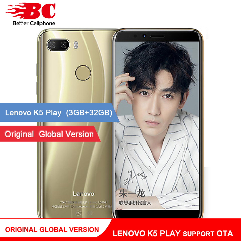 Original mundial Lenovo K5 jugar teléfono Android 8,0 Snapdragon 430 MSM8937 Octa-Core 5,7 pulgadas huella Rear13.0MP 3 GB + 32 GB OTA
