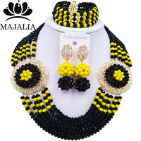 Majalia Romantic Nigeria Wedding African Beads Jewelry Set Black and Opaque yellow Crystal Necklace Bridal Jewelry Sets 6OP003