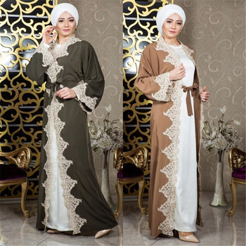 Luxury Elegant Long Muslim Dress Lace Flowers Abaya New Design Lady Party Open Robe Dubai Islamic Clothing Caftan Marocain Dress Платье