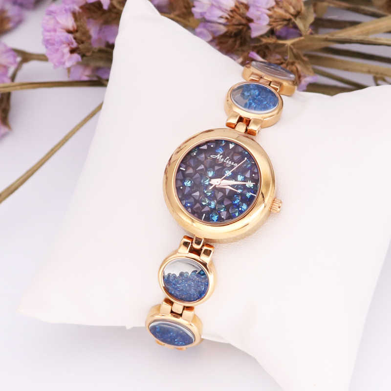 Melissa Lady Women's Watch Luxury Hours Japan Quartz Fashion Fine Clock Chain Bracelet Rhinestones Crystal Girl Birthday Gift fashion modern silver crystal flower quartz pocket watch necklace pendant women lady girl birthday gift relogio de bolso antigo