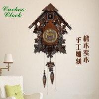 Reloj de pared sala de estar europeo de madera maciza decoración de la habitación de los niños creativo reloj electrónico