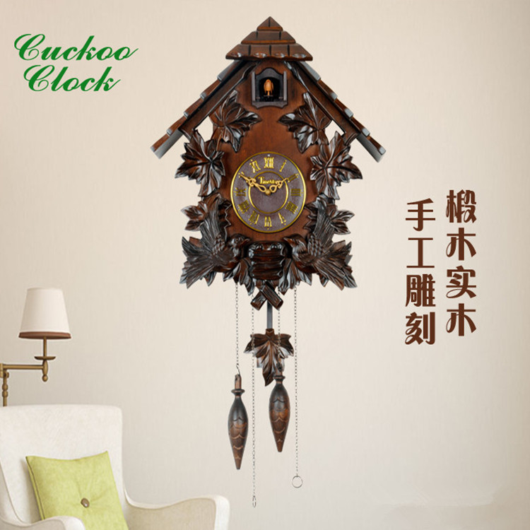 wall clock living room European solid wood childrens decoration creative electronic