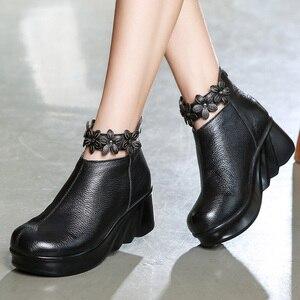 Image 4 - GKTINOO çizmeler kadın rahat sonbahar hakiki deri yarım çizmeler kadınlar için yumuşak takozlar platform ayakkabılar bayanlar