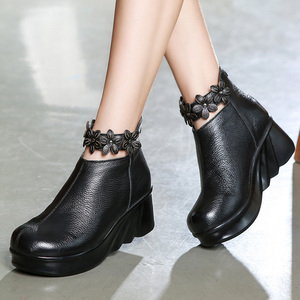 Image 4 - Gktinoo botas femininas confortáveis outono botas de tornozelo de couro genuíno para mulheres cunhas macias sapatos plataforma senhoras