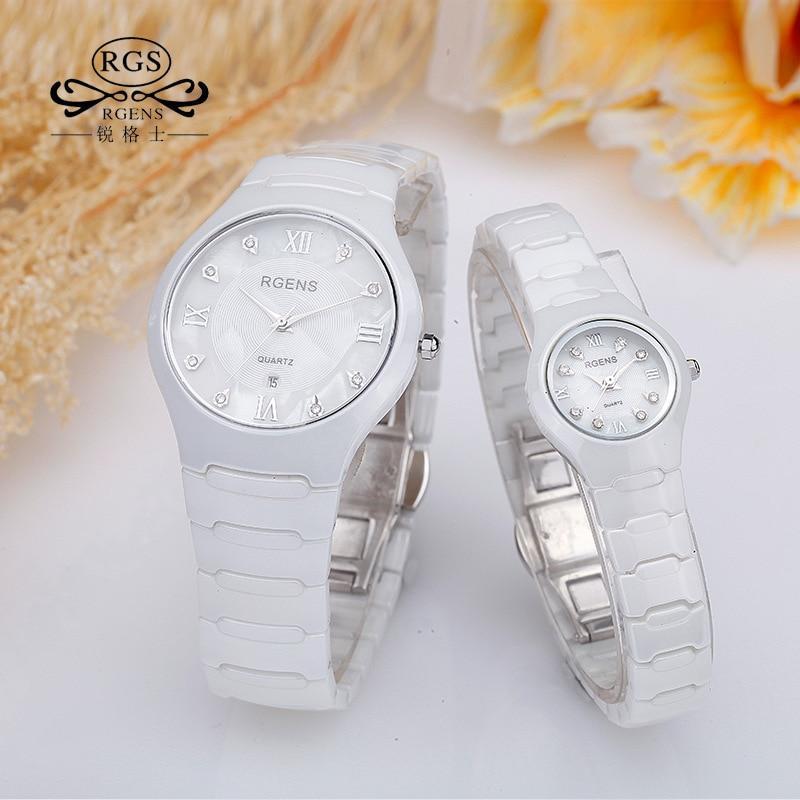 RGENS Man Woman Wristwatches Diamond Waterproof Loves Clocks Women Mens Ceramics Watches Quartz Black White Luxury Brand