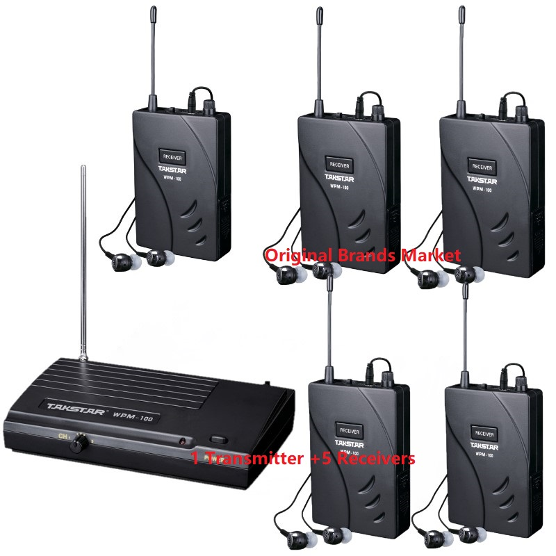 Takstar WPM 100 WPM100 Stage Wireless Monitor System 1 Transmitter 5 Receivers use for Recording studio