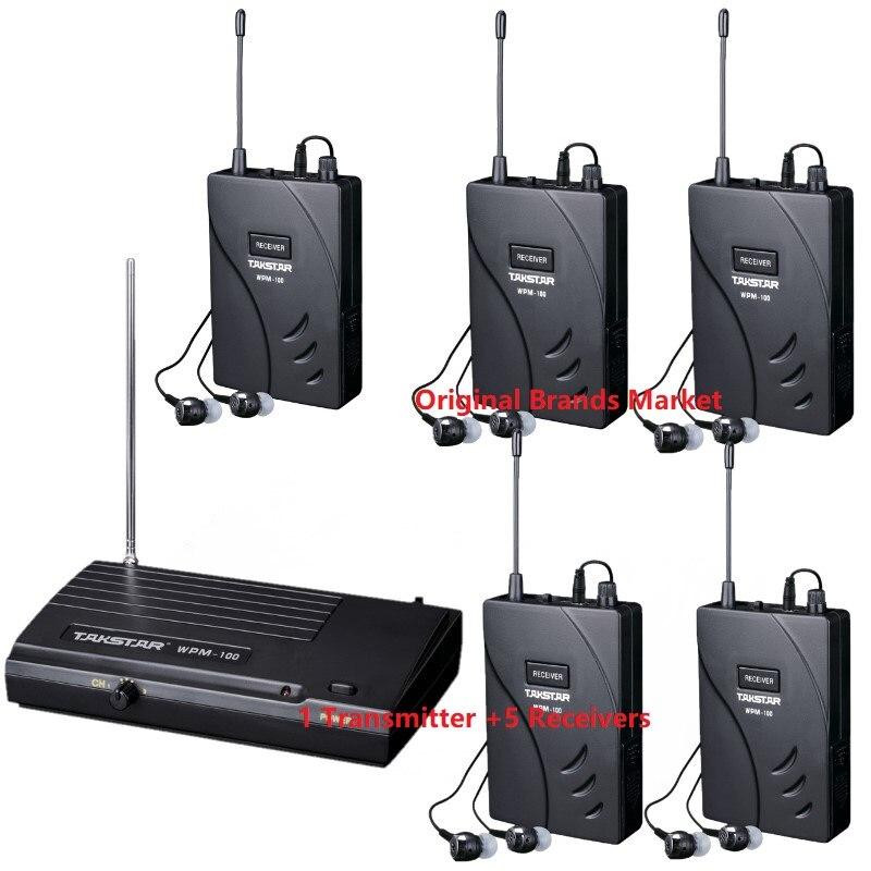 Takstar WPM 100/WPM100 Sistema de Monitor inalámbrico de Escenario 1 transmisor + 5 receptores de uso para grabación de estudio/en escenario supervisión-in Auriculares y cascos from Productos electrónicos    1