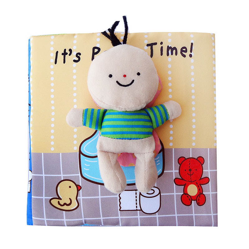 Newborn baby early education cloth book children enlightenment tearing bad toys potty bathing cloth book for 0-2 years old