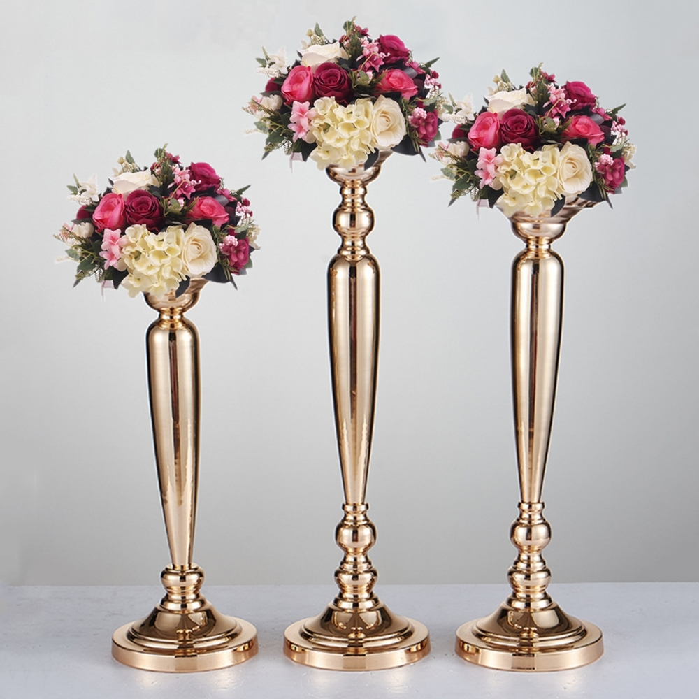 10 PCS/LOT Classic Metal Golden Candle Holders Wedding Table Road ...