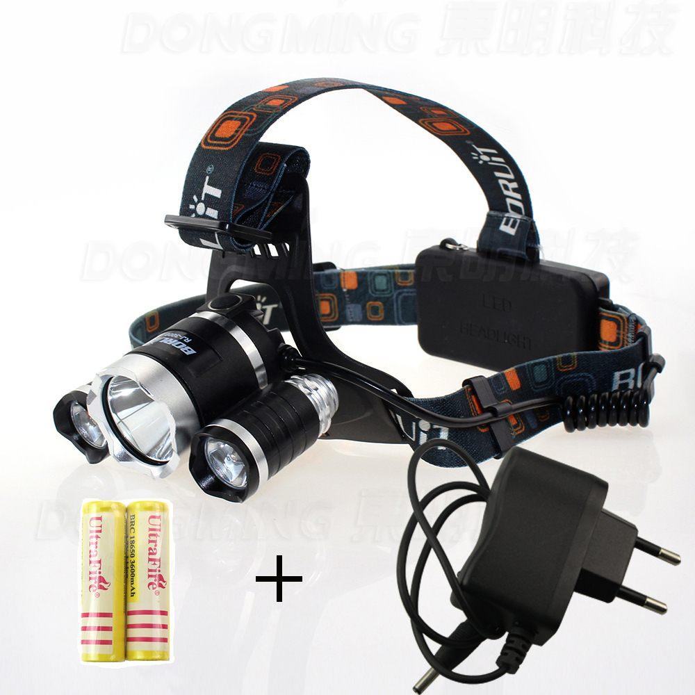 Frontal LED headlight 5000LM Cree XM-L T6 5000 lumen headlamp 18650 rechargeable battery Head lamp light bike + charger led headlamp cree xm l t6 led 2000lm rechargeable head lamps headlights lamp lights use 18650 battery ac charger head light