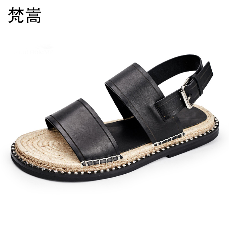Summer thick-soled Roman sandals Mens breathable buckle leisure leather sandals Individual straw weave non-skid outdoor shoes