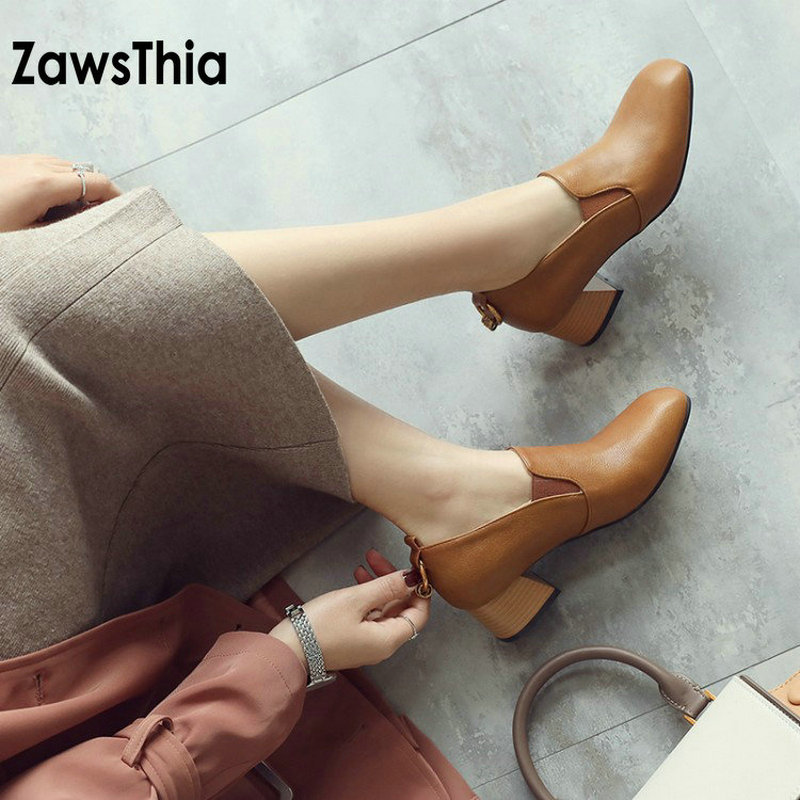 ZawsThia PU artificial leather low heeled woman shoes with metal ring decoration grandma shoes women glove shoes size 44 45 46