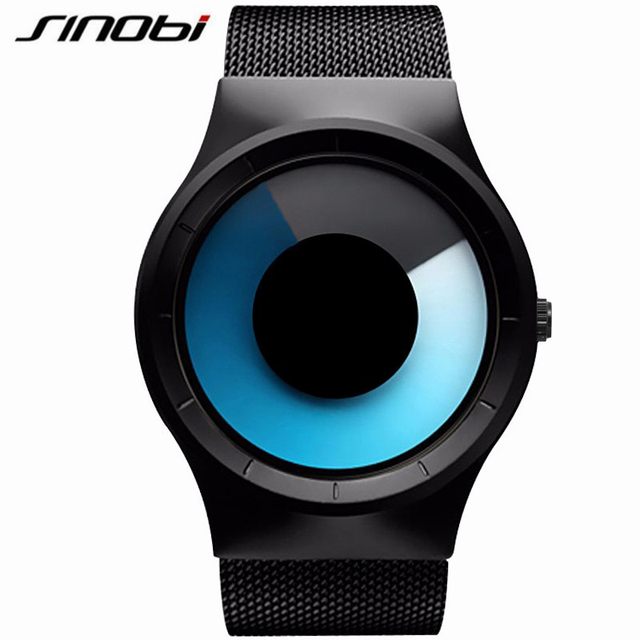 SINOBI Mens Relógios Top Marca de Luxo Cinta de Aço de Quartzo Relógios Esportivos Para Homens Cool Fashion Estilo Oceano Azul Relogio masculino