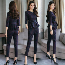 Spring 2019 all-new women's fashion suit fashionable temperament and women's fall weight loss two-piece set