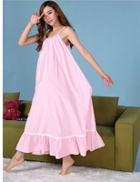 Pink/White Princess Nightgowns Women Sleepwear Long Cotton Nightdress Loose Vintage Nightgown Summer 2017