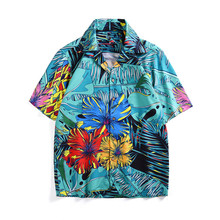Chic men's floral print Shirt tops Fashion runways Men's short sleeves Shirts A350 chic embroidered chinese style blouses tops women summer short sleeves vintage shirts a276