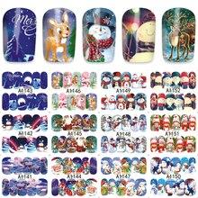 LCJ 12pcs/Sheet Xmas Deer Snowman Water Transfer Nails Art Sticker Manicura Decal A1141-1152
