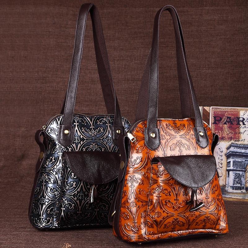 Retro Women Knapsack Back Pack Shoulder Bag Crossbody Bag Embossed Genuine Leather Female Girls School Book