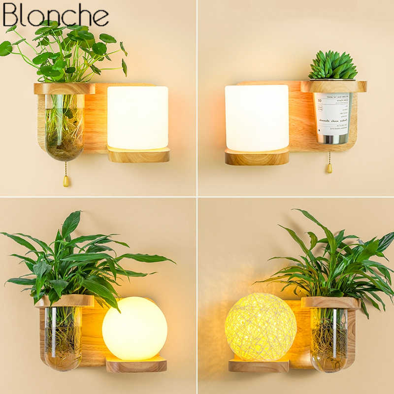Nordic Diy Plant Wall Lamp Modern Wood Wall Lights For Dining Room Bedroom Bedside Lamp Glass Sconce Light Fixtures Home Decor Led Indoor Wall Lamps Aliexpress