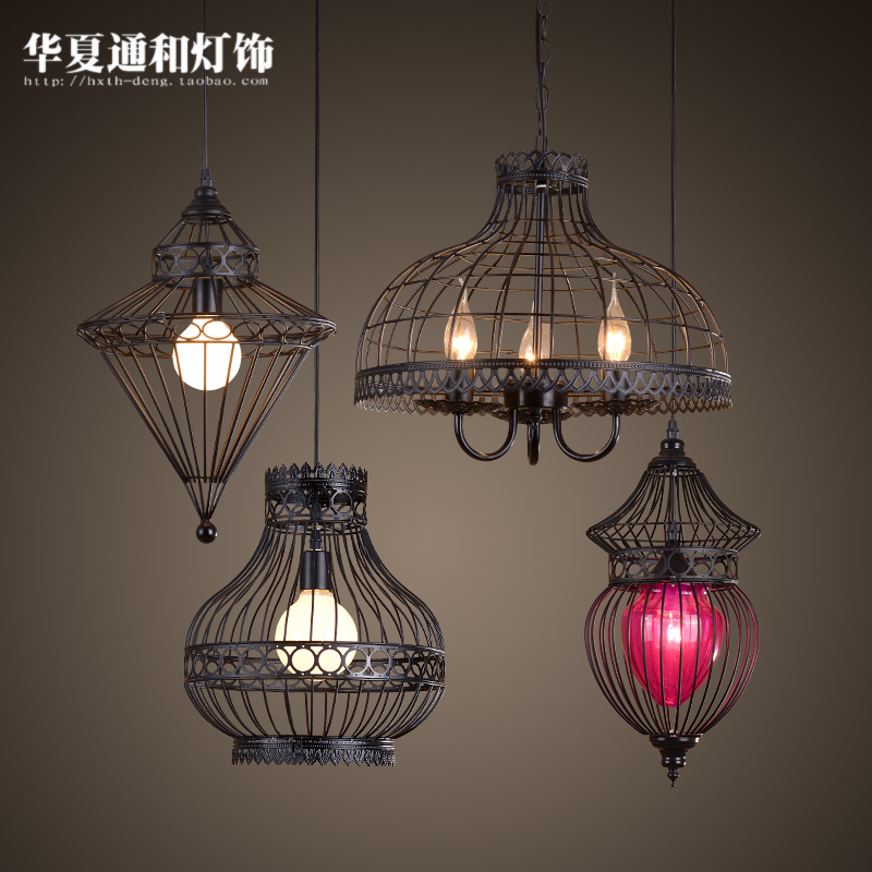 American country iron Chinese lamp Nordic European Restaurant Bar retro creative industrial room Pendant Lights the mediterranean country restaurant study room nordic pendant lights room blue retro simple european za