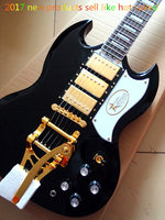Factory Custom! Model SG guitarra JAZZ black Ebony fingerboard electric guitar with Bgsby Tremolo Free shipping
