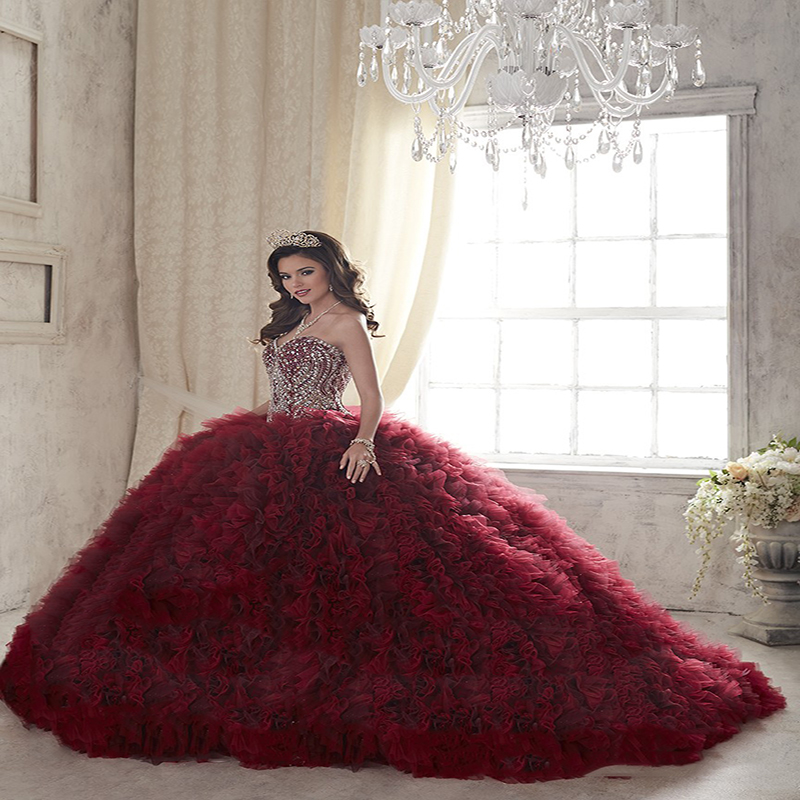 Us 18629 19 Off2017 Hot Wine Red Beads Crystals Ball Gown Quinceanera Dresses Tulle Ruffles Cheap Vestidos De 15 Anos Sweet 16 Dresses In
