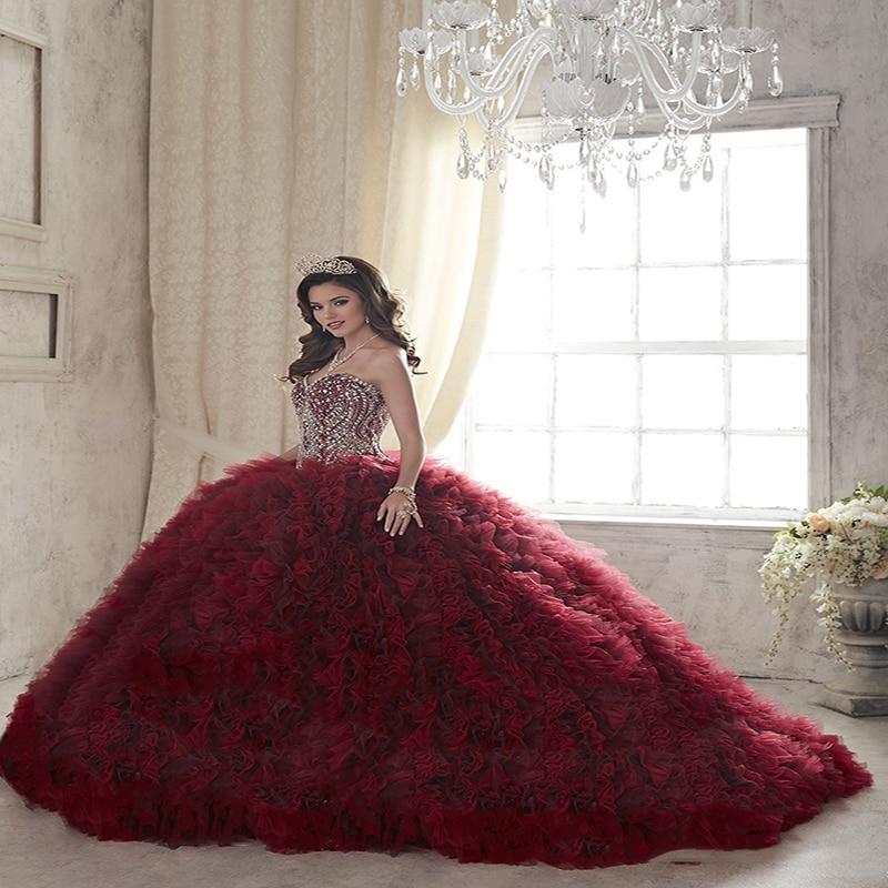 2017 Bolas De Color Rojo Vino Caliente Cristales vestido de Bola Vestidos  de Quinceañera de Tul