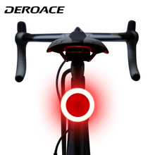 DEROACE Bike Light Bicycle LED Taillight Safety Warning Mountain Rear Lamp Usb Charging Creative