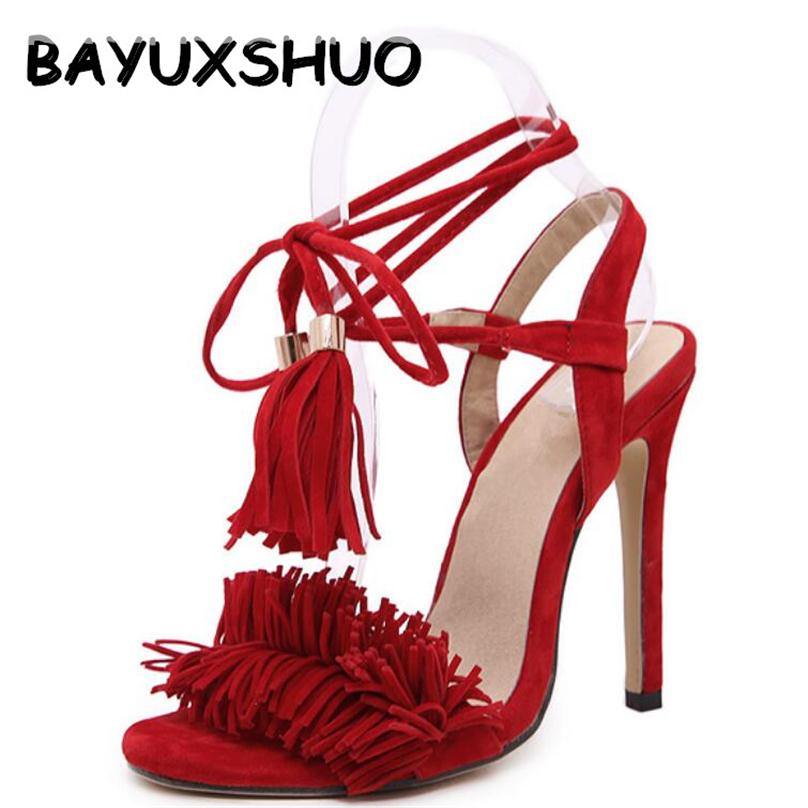 BAYUXSHUO Tassel Sandals Spain Summer Style Ladies Sexy Stiletto pumps Women Fringe High Heels Sandals Party Wedding Shoes Woman