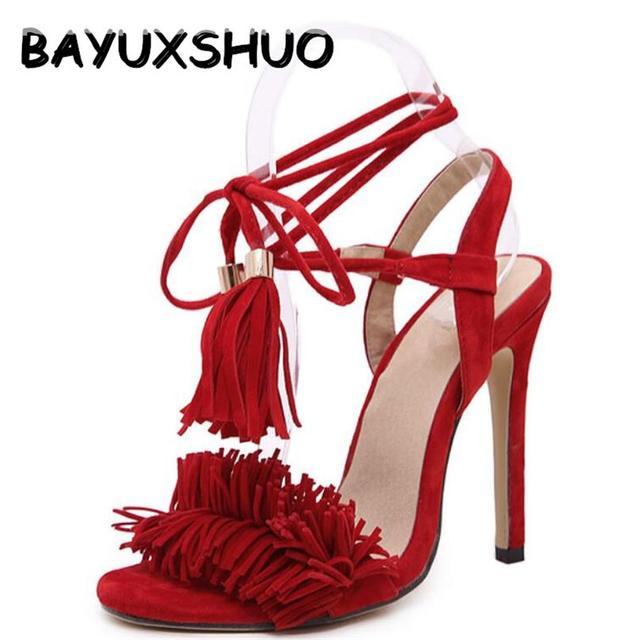 37978db0739 BAYUXSHUO Tassel Sandals Spain Summer Style Ladies Sexy Stiletto pumps Women  Fringe High Heels Sandals Party Wedding Shoes Woman