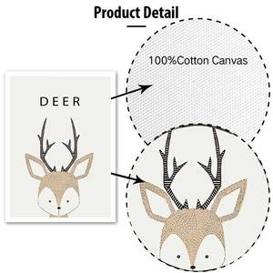 Image 5 - Kawaii Cartoon Animals Posters Prints Owl Fox Deer Canvas Painting For Kids Nursery Bedroom Modern Wall Art Pictures Home Decor
