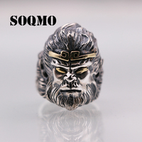 SOQMO Real Soild 925 Silver Opening Monkey King Cool Big Rings for Men Vintage Punk Ring Adjustable Sterling Jewelry SQM216