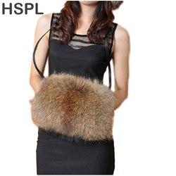 HSPL CDB049 Genuine Raccoon Fur Hand Warmer Fox Fur Hand Warmer