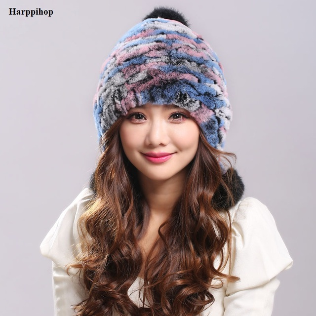 bbf56095fdd44 Earflap Hats Winter warm fur hat for women real knitted Rex Rabbit Fur Hat  with real fox fur Pom Poms caps fashion female caps