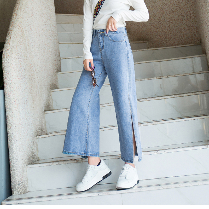 2019 Spring Straight Split Blue Jeans Women High Waist Wide Leg   Pants   Fashion Female Casual Loose Streetwear Denim   Pants     Capris