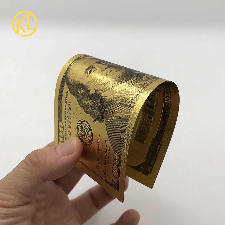 Горячее предложение: 1 шт.. Водонепроницаемая и прочная банкнота Kelin с позолотой 24 k. Ценный сувенир на 100 долларов США.