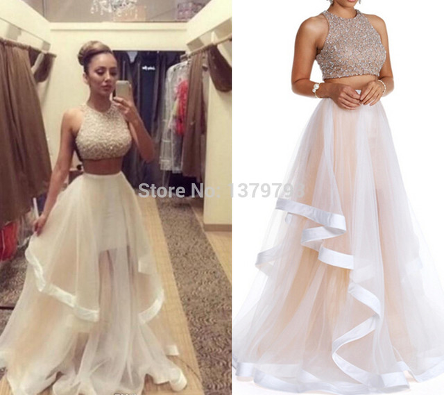 A Line Champagne Tulle O Neck Two Piece Sexy Formal Dresses Cheap