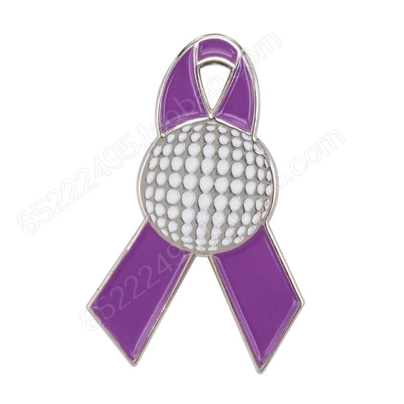 General Cancer Awareness Golf Ball Lavender Ribbon Lapel Pins