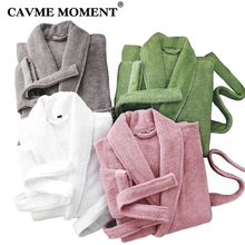 CAVME テリーローブ綿着物タオル女性のためのボックスダストバッグサイズ男性のローブホテルローブホームウェアカスタム刺繍ロゴ